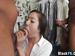 Asian Hottie Fucking Big Black Dongs Threesome